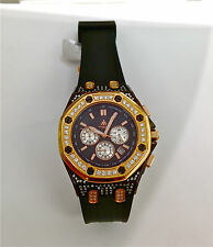 Techno JPM Rose Gold and Black Rubber Chronograph Watch with Diamond Bezel