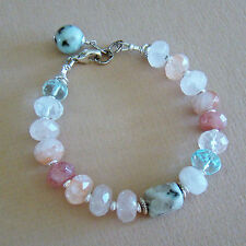 U&C Sundance Strawberry Quartz, Aquamarine, Spot Jasper Sterling Silver Bracelet