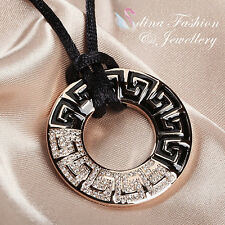 Black Cord With 18K Rose Gold GF Simulated Diamond Retro Pattern Round Necklace