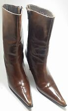 Efe women's calf high boots brown patent leather spike heel pointed toe Sz 8-9
