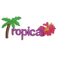 ID 1827 Tropical Palm Tree Beach Embroidered Iron On Applique Patch