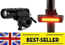 front torch + rear red cob rechargeable bike lights set small powerful light
