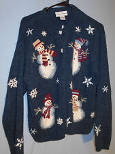WOMENS UGLY CHRISTMAS SWEATER HOLIDAY CARDIGAN SNOWMEN  MEDIUM