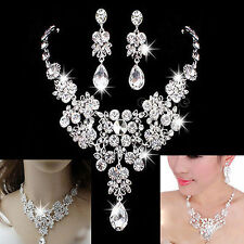Wedding Bridal Party Rhinestone Crystal Pendant Necklace Earrings Jewelry Sets