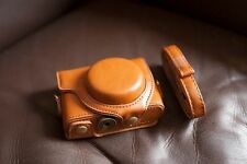 PU Leather Full Camera Case Cover bag for SONY RX100 M2 M3 Mark III II Brown