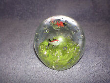 Vintage Glass Paperweight Controlled Bubbles Green Coral and Fish