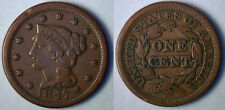 1847 Copper Braided Hair Liberty Head Large Cent US Type Coin VF