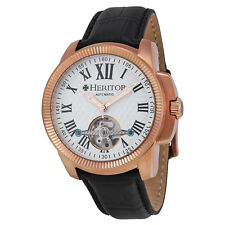 Heritor Franklin Silver Engraved Dial Black Leather  Mens Watch HR2905