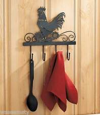 Country Rooster Metal Kitchen Wall Hook Key Utensil Towel Hanger Accent Decor