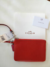 COACH F51763 Vermillion Red Park Leather Small Wristlet Wallet NEW + Coach Box