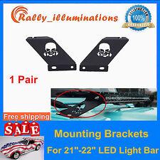 """Pair Skull Hood Mounting Bracket For 21""""-22"""" LED Work Light Bar Jeep Wrangler JK"""