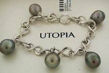 Utopia 18K  White Gold Tahitian Pearls Ladies Bracelet 8 inches