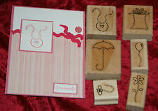 Stampin Up FINE PRINT set 6 Stamps Baby Birthday Thank you Christmas Friends
