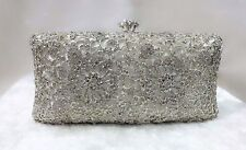 White Silver Bling Handmad Crystal~Bridal / Evening Clutch Bag☆Free shipping☆