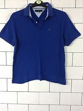 URBAN VINTAGE RETRO BLUE TOMMY HILFIGER SHORT SLEEVE POLO TOP T SHIRT M #40