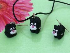 NEW Black and White Cat, Fimo, Earrings and Pendant Set, Hand-Made, Boxed - CUTE