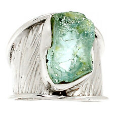 Natural Aquamarine Rough 925 Sterling Silver Ring Jewelry s.8 SR176245
