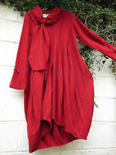 "QUIRKY BALLOON COAT & SCARF RED BOILED WOOL 46"" BUST BNWT LAGENLOOK"