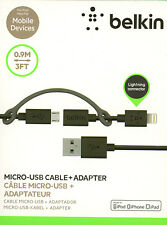 Belkin 3-Feet Micro-USB Cable with Lightning Connector Adapter For Apple Samsung