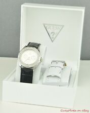 FREE Ship USA Watch GUESS Black White Leather Ladies New U10623L2 Lovely