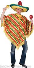 Hommes Piment Imprimé Poncho Mexicain Far West Cow-boy Costume Déguisement