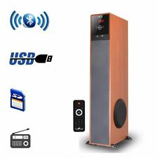 beFree Sound Wood Finish Bluetooth Tower Speaker with USB/SD/FM/Karaoke Rem