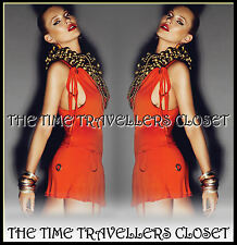 Kate Moss Topshop Orange Racer Back Eyelet Lined Jersey Tunic Mini Dress UK 8 10