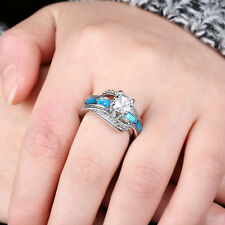 Blue Fire Opal & White Zircon Women Jewelry Silver Plated Ring Size 8 OP38