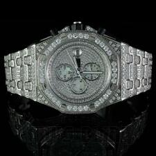 18k White Gold Mens Stainless Steel CZ Iced Out High End Hip Hop Wrist Watch