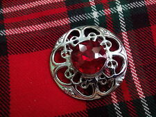 TC Broche Celta Fly Plaid Piedra Roja/Broche Para Kilt De Tela Escocesa