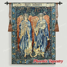 "LARGE William Morris Angeli Laudantes Medieval Tapestry Wall Hanging 55""x41"", US"
