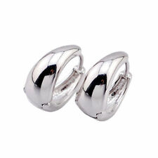 Pretty Smooth 9K White Gold Filled Women's/Girls Small Petite 14mm Hoop Earrings