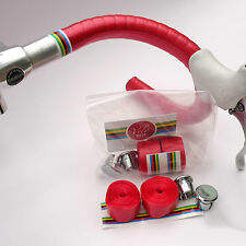 70s Shiny Red Handlebar Tape, Chrome Bar Plugs & World Champion Trim Tape