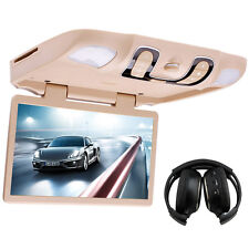 "15.6"" HD Car Overhead Roof Mount Flip Down DVD Player + Pair Wireless Headphones"