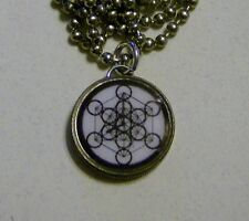 "Sacred Geometry METATRON'S CUBE Dime Pendant/Charm Necklace 24"" Chain"