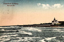 16582 AK Ostseebad Kolber Bewegte See Wellengang Seebrücke Strand um 1915