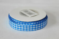 Full Roll Fabric Gingham Ribbon With Woven Edge 10mm x 10m - Various Colours