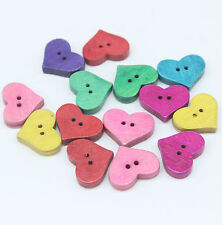 60 Mixed Heart Shape 2 Holes Wooden Fit Sewing Scrapbooking Buttons 20x16x4mm