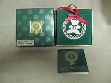 COLLECTIBLE LENOX CHINA YULETIDE ORNAMENT 1986 TEDDY BEAR MINT IN BOX