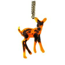 AMBER DEER NECKLACE Antique Bronze NEW BNWT Cute Animal Stag Acrylic Kitsch