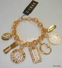 GUESS ??? Jeans Rhinestones  Logo Bangle  Bracelet  Gold Tone Charms    NWT