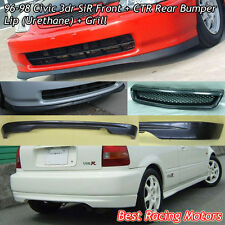 SIR Style Front Lip (PU) + CTR Rear Lip (PU) + Grill (ABS) Fits 96-98 Civic 3dr