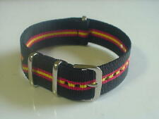 Black/Red/Yellow Regimental G10 22mm Military strap for ZULU Time Watch & more