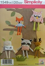 Simplicity 1549 Sewing PATTERN for Stuffed Animals OWL BUNNY RACCOON FOX DEER
