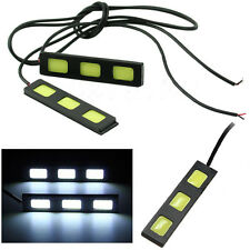 2x Car COB 3 LED DRL Daytime Running Light Driving Strip Daylight Fog Light Lamp