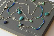 """Silpada Earth & Sky Necklace Lapis Turquoise .925 Sterling Silver 48"""" N2855"""
