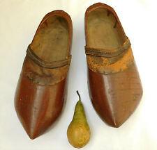 VINTAGE Olandese Zoccoli in legno intagliati legno e pelle misura adulto