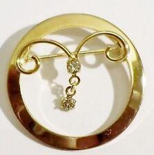 broche bijou vintage couleur or pampille solitaire cristal diamant superbe *3107