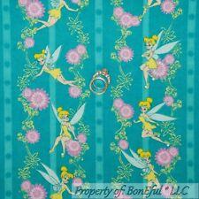 BonEful Fabric FQ Flannel Cotton Disney Tinkerbell Peter Pan Stripe Flower Fairy