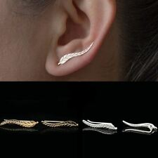 New Fashion Ladies Gold Tone Retro Leaf Ear Clip Piercing Cuff Earrings Pair